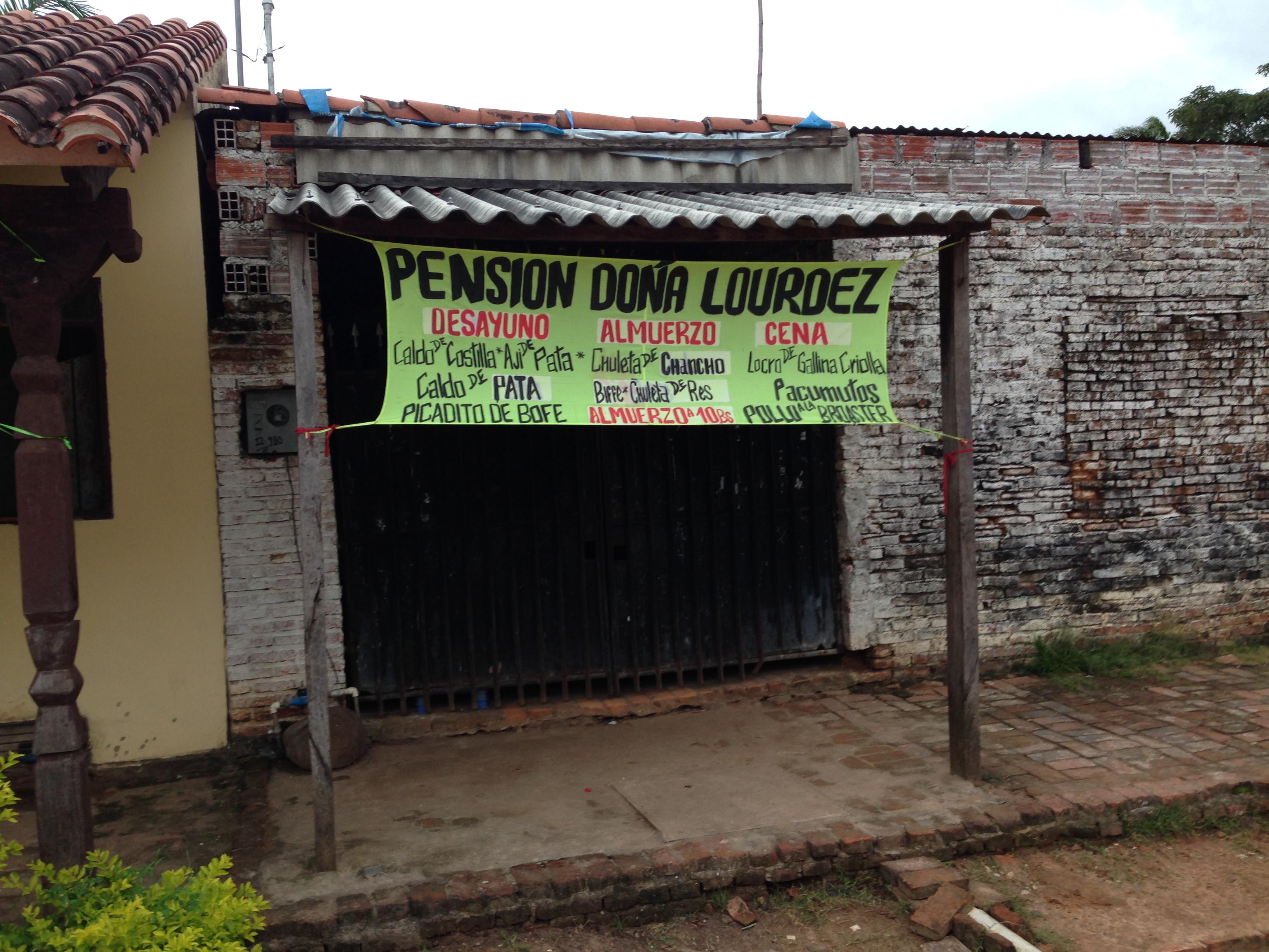 En Bolivia Pensión significa Restaurante.