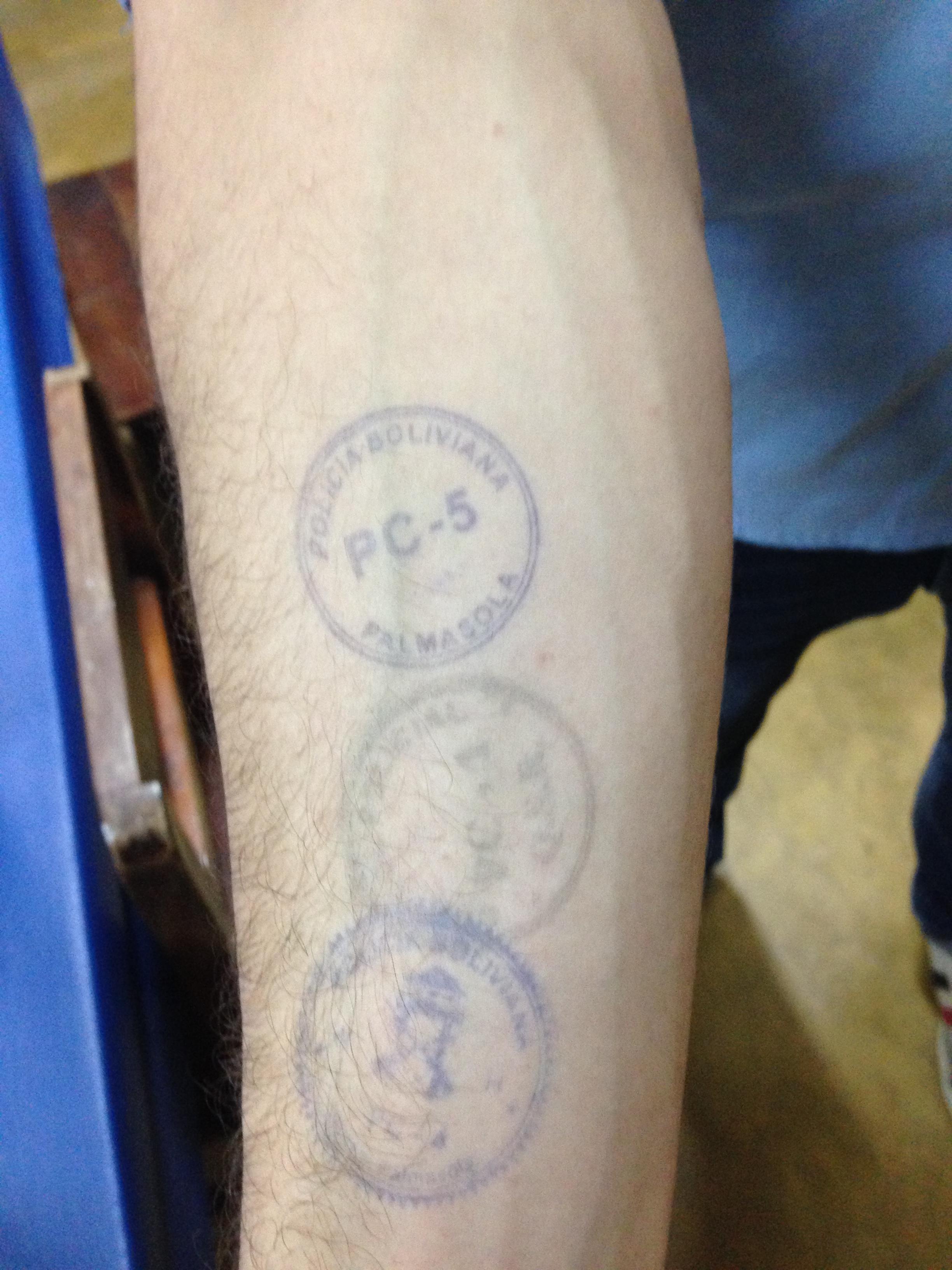 Estos eran los 3 sellos que llevaba en mi brazo