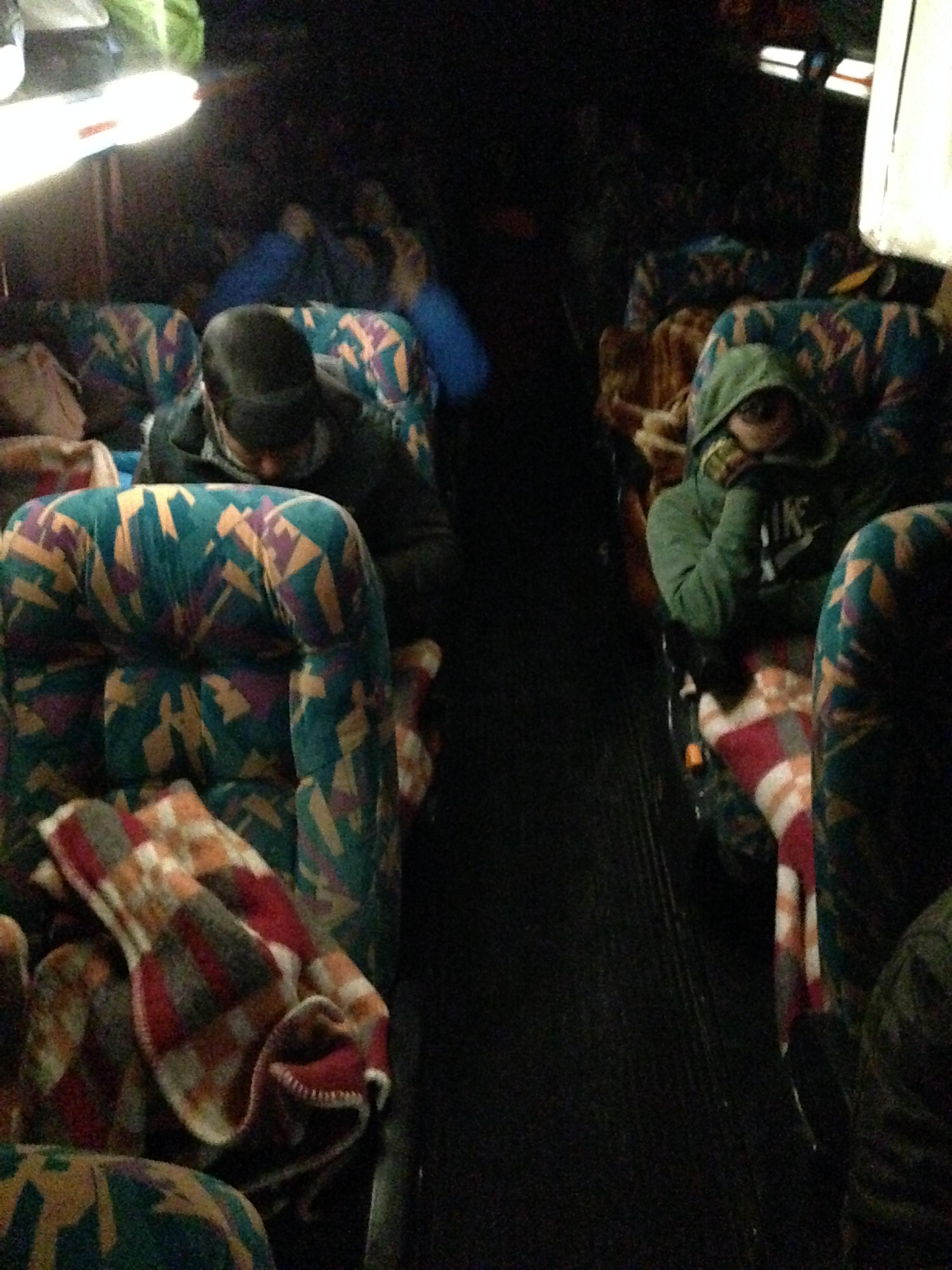 Este es el autobús. Con esta foto creo que os podéis hacer una idea del frio que hacía