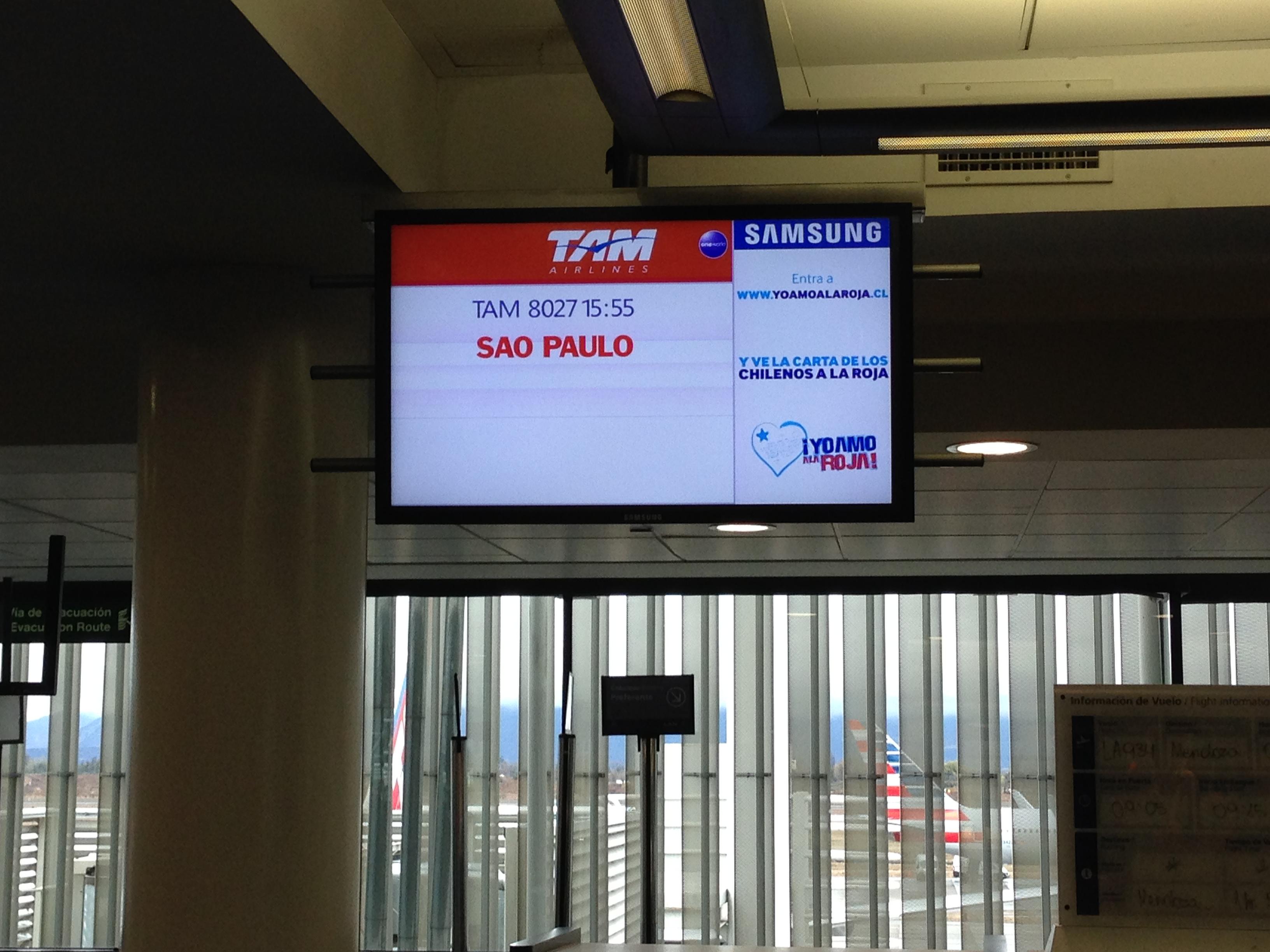 A punto de embarcar en el avión para Sao Paulo