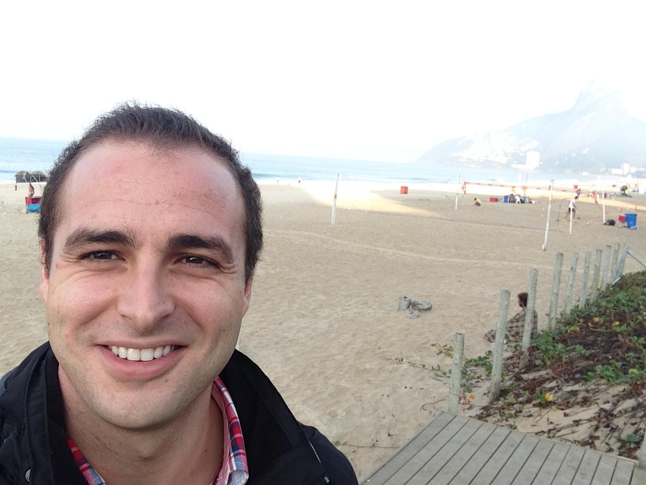 Selfie en la Playa de Ipanema temprano por la mañana nada más llegar a Rio