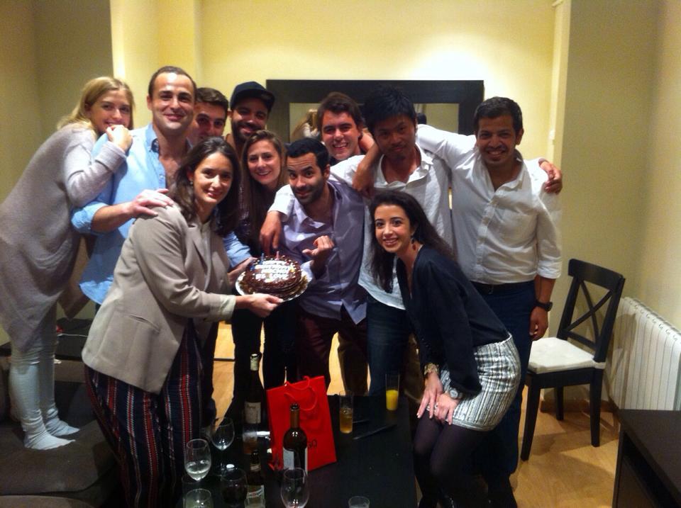 Celebración  de mi 31 cumpleaños rodeado de amigos de IESE en Barcelona